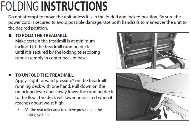 sole f63 treadmill folding instructions