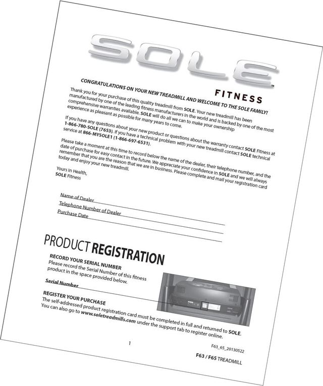 sole f65 treadmill owners manual